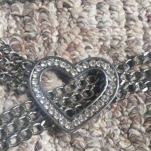Metal Silver Glitter Heart Adjustable Belt